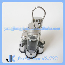 5 Piece Best Price Glass Cruet Set With Customized Stand For Sale