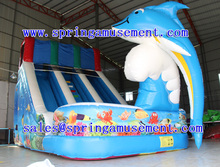 lovely dolphin inflatable slide for sale,SP-SL006