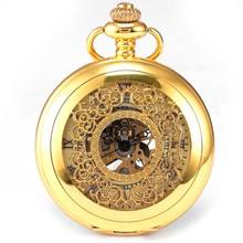 Fashion Steampunk Skeleton Gold Case Roman Dial Mens Mechanical Pocket Watch