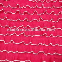 Lovely rose red 100% polyester knitted yarn dyed ruffle fabric for dress