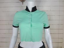 crop top cotton stand collar blank raglan t shirt wholesale