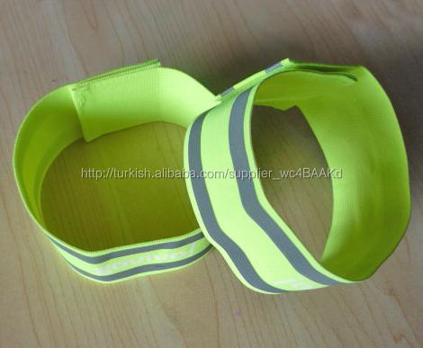 Ucuz yansıtıcı elastik velcro kayış, özel bilek bandı, yansıtıcı bilezik