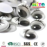 MTHYJ-006 18mm black&white googly plastic screw eyes black