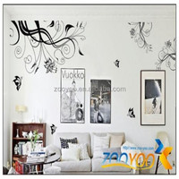zooyoo028 PVC Removable decorative painting flower picture arts designing butterfly wall sticker livingroom decal home decor