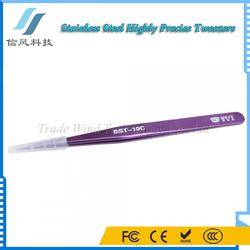 BST-10C Stainless Steel Highly Precision Tweezers Pro Tool Tweezers Purple