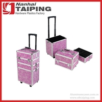 Aluminum Flopral 3-in-1 Makeup Beauty Hairdressing Vanity Box Trolley Case