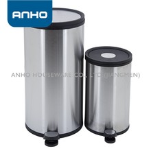 12L+30L round matte stainless steel soft close foot pedal trash bin set