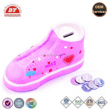 pink shoes piggy bank pvc money box for coins saving cheap custom