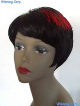 2016 new style synthetic red highlights cute short hair wigs for african american -684