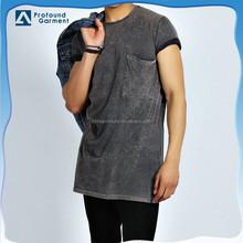 Acid wash oversized longline t shirts with chest pocket for men