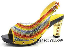 Crystal High Heel Platform Sandals Shoes Red for Wedding and Party MS4201 YELLOW