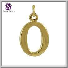 Wholesale jewelry high polish gold pating 925 silver Alphabet O charms