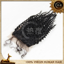 Charming Kinky Curl 4*4 Lace Closure Natural Color Brazilian Human Hair Support Retail And Wholesales