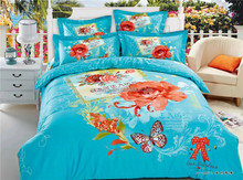 Butterfly and Flower Blue Design 100% Cotton Bed Sheets Bedding Set Manufacturers in China