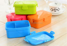 Newest Cute Plastic Bento Lunch Box Two Layers, Cheap PP Bento Lunch Box With Spoon&Fork
