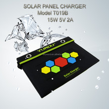 Solar Charger+15W Fodable Solar Panel+Dual USB Output+Waterproof Solar Rechargeable Folding Bag