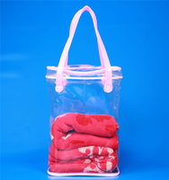 New style clear pvc tote bag with pink webing
