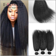 7A Brazilian Kinky Straight Human Hair Weave 3 Pcs Coarse Yaki Bundles Italian Yaki Kinky Straight Weave Virgin Hair Extension