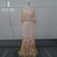 Elegant Detachable Cape Champagne Mermaid Long Lace Evening Dress For Muslim Women