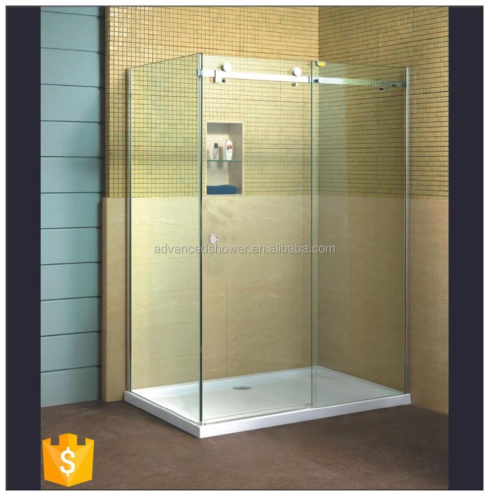 Hot sale l shape bathroom 3 panel sliding glass shower for 3 panel tub shower doors