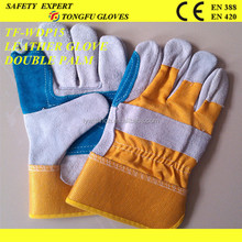 """China Manufacturer Cow Split 14""""/16''/10.5''/10'' Work glove Black cow split leather back stripped cotton/ Patch palm working"""