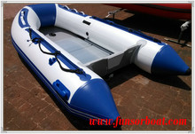 White and blue Aluminum floor CE inflatable boat with outboard engine