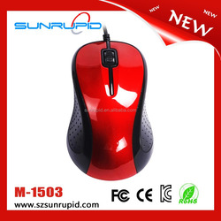 2015 cheapest 3 buttons optical wired computer basic mouse