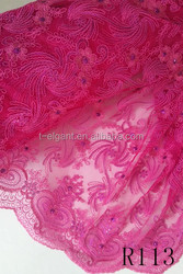 Factory price fushia fashion african wedding dress embroidered net lace /tulle lace fabric