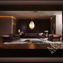 The luxurious chesterfield oversized sofa HD288 with brown genuine leather