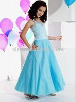 Blue Princess Sequined and Beaded Flower Girl Dress