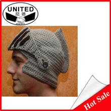 2015 Novelty New Roman Knight Helmet Caps Cool Handmade Knit Ski Warm Winter Hats