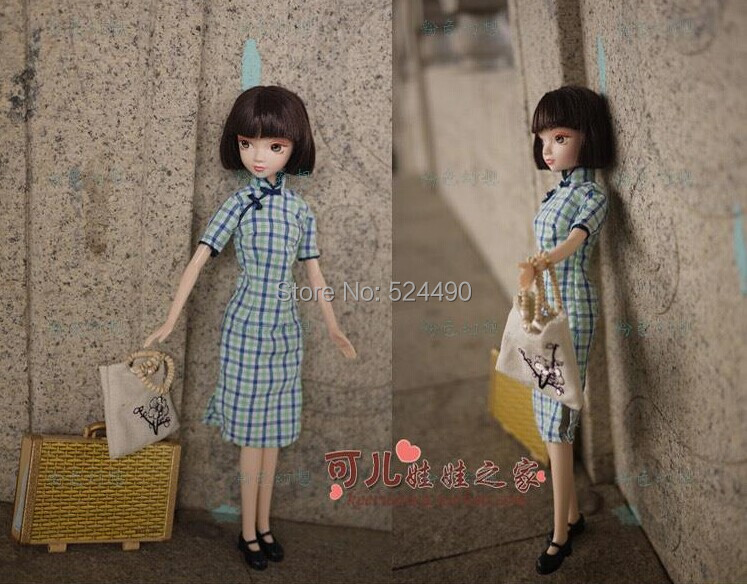 Legal Copy Genuine Original 10 jointed moveable Ancient Costume Kurhn Doll / Blue Cheongsam Dress Bag Set for Barbie Doll Gift