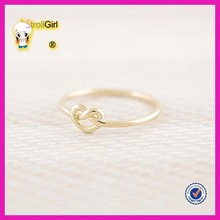 2015 fashion hot sale wholesale gold plated love knot rings