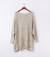 Vintage design round neck women batwing loose fitting hand knitted pullover sweater ladies front short back long knitted sweater