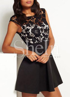 Dresses fashion women girl clothes Black Superb Easter Custom Cap Sleeve With Lace Dress