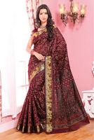 Marun Printed Designer Cotton Saree