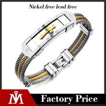 Yiwu factory professional stainless steel two tone watch bracelet men jesus cross jewelry