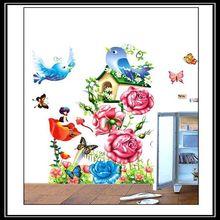 Vary Flowers & Birds Vinyl Removable Home Decal Pretty Decor Art PVC Wall Sticker