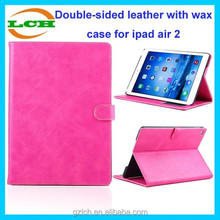Good protective horse line double-sided leather with wax case for ipad air 2 case