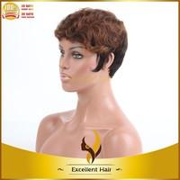 beauty short 30/1b# highlight brazilian virgin human hair machine weft wig