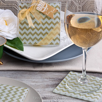 Factory Price Wedding Favors Shimmer and Shine Gold Chevron Glass Coasters