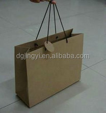 Plain flat big kraft paper shopping bag/packaging bag for gift HOT SALE