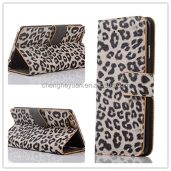 new products leopard pu leather flip magnetic wallet stand phone case for Iphone 6S 6s plus
