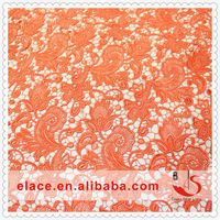 Discount product beautiful color orange 100% polyester fabric lace for back neck design of suits