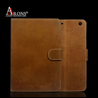 Universal cow leather folio opening belt clip case for ipad mini
