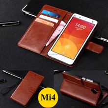 Wholesale Mi4 Mobile Phone Case PU Leather Flip Back Cover Case for Xiaomi Mi4