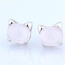 cute lovely natural rose quartz pink crystal cat model shaped new fashion earring for young girl