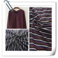 100% cotton yarn dyed pique stripe denim knitted fabric