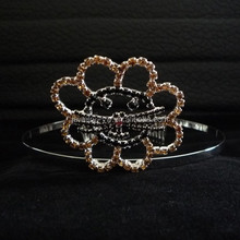 hair accessories wholesale crystal cat head tiara metal hair band