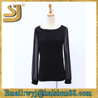 Hot selling blouse neck models,ladies trendy long sleeve shirts,blouses ladies